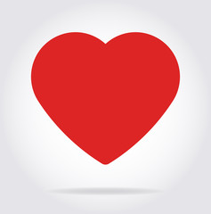 Red heart icon with shadow in flat style.