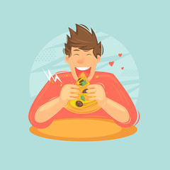 Man eating pizza.Flat design vector illustration