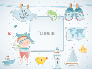 Holiday card design with pirate and boat. Baby shower. Paper, scrapbook.