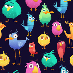 Angry birds pattern. Game parrots and exotic baby cute and funny colored birds. Vector cartoon seamless illustrations. Pattern exotic bird, parrot angry, colored macaw