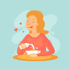 Woman pours milk in cereal morning. Flat design vector illustration
