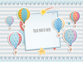 Holiday card design with colorful balloon. Baby shower. Paper, scrapbook.