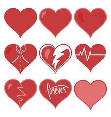 Matte red heart set vector illustration