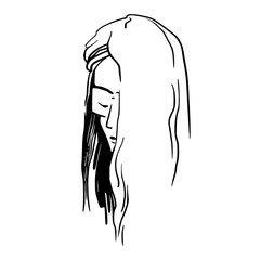 A young girl with long hair in minimalistic style.