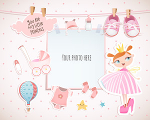 Baby girl shower card. Little princess. Arrival card with place for your photo