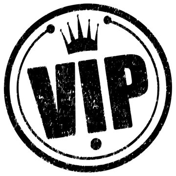 Black circle rubber stamp Vip with crown.