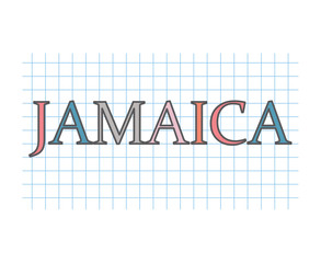 Jamaica word on checkered paper texture- vector illustration