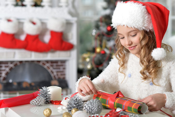 Portrait of a girl preparing for Christmas
