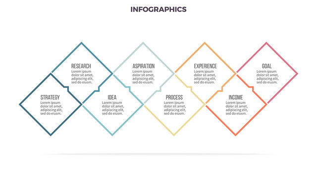Business infographics. Timeline with 8 steps, options, squares. Vector template. Editable line.
