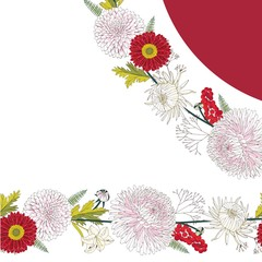 Chrysanthemum romantic pink and red flowers with leaves and gerbera