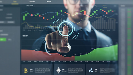 cryptocurrency, business and technology concept - close up of businessman working diagram chart on virtual screen