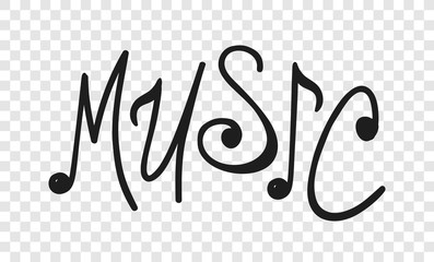 Hand drawn quote about music. Doodle illustration. Creative ink art work. Actual vector text drawing
