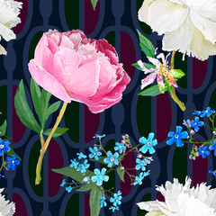 Peonies and forget-me-nots.