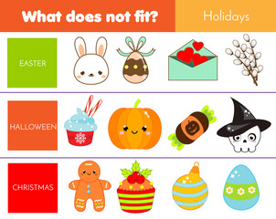 Educational children game. Logic game. What does not fit type. learning world holidays for kids and toddlers