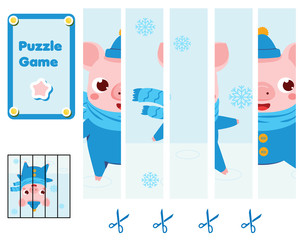 Puzzle for toddlers. Complete the picture with cute pig. Educational game for children