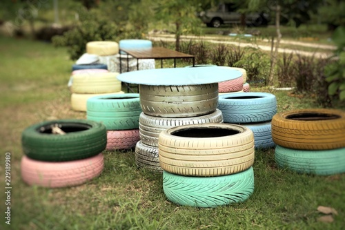 Decorating The Old Tire Chairs Stock Photo And Royalty Free Images