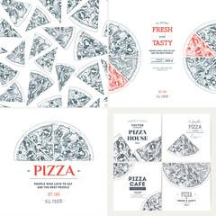 Pizza banner design templates. Seamless pattern. Vintage illustrations. Vector illustration