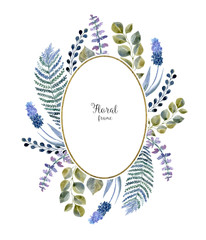 Photo sur Plexiglas Fleur Watercolor leaf frame on white background. Hand drawn floral decoration for wedding card cover.