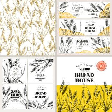 Bread design template collection. Banners, pattern, composition. Vector illustration