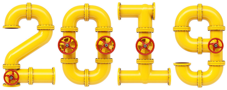 new 2019 year from gas pipes. Isolated on white background. 3D illustration.