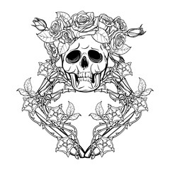 Halloween Santa Muerte. Human skull in a rose wreath and hand bones in dog-rose garlands. Mystical character. Tattoo design. Isolated on white background. EPS10 vector illustration