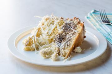 White Chocolate Banana Cake Slice with Cream