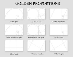 Fototapeta Golden proportions set . Golden section ration