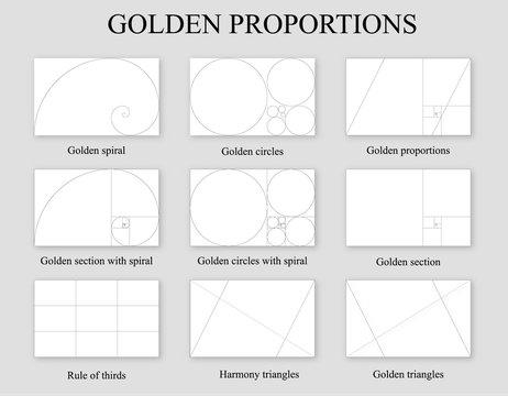 Golden proportions set . Golden section ration