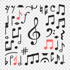 Hand drawn music notes illustration. Doodle set of symbols. Creative ink art work. Actual vector drawing