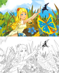 cartoon scene with beautiful tiny elf girl on the meadow looking at flying butterfly and cuckoo bird - with coloring page - creative illustration for children