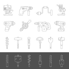 Line Icons - Different types of drills and drill bits