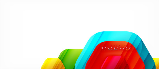 Vector multicolored hexagons geometric abstract background