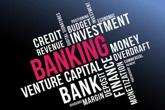 BANKING word cloud collage, business concept background.