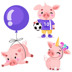 Set of cute cartoon pigs. Piggy football player with the ball, piggy flying on a balloon, pig in a unicorn costume. Vector illustration for calendar, card, banner, postcard. Chinese New year