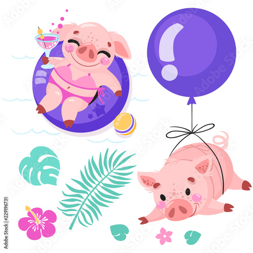set of cute cartoon pigs piggy on the beach with a cocktail piggy flying