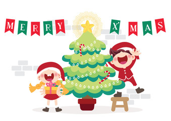 cheerful children and Christmas tree illustration vector