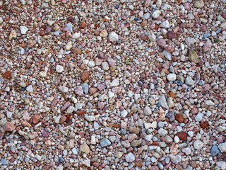 detailed decorative beach pebble background in different shapes and colors