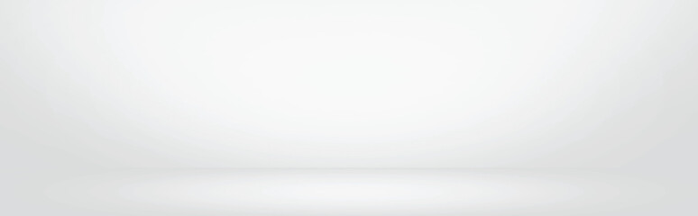 Fototapete - white and grey gradient wall banner, blank studio room and interior for present product