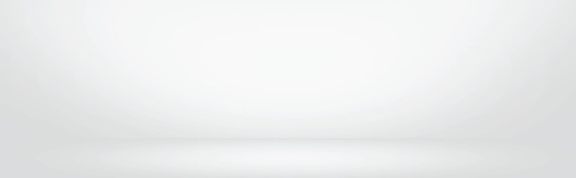 white and grey gradient wall banner, blank studio room and interior for present product