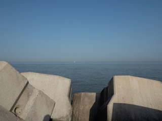 The North Sea, seen from the Western Strekdam on the Belgian city of Ostend.