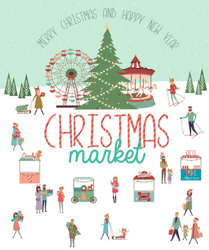 Cute Merry Christmas greeting card with winter landscape, Christmas market and active people. Editable vector illustration