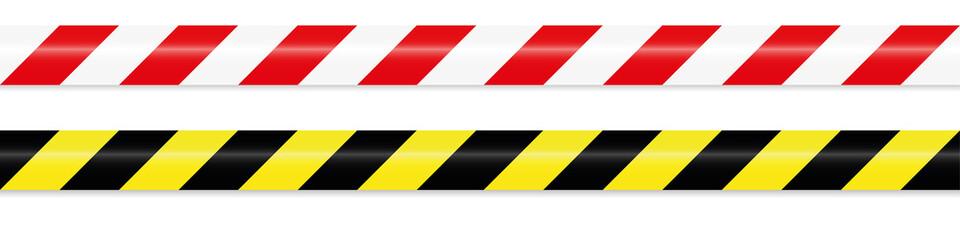 warning tape red white and yellow black Fototapete