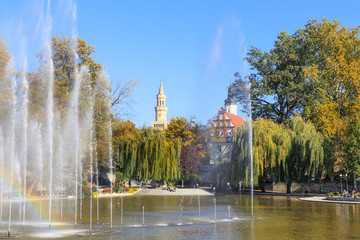 Opole - Autumn view of Barlicki  Pond near the Piast Tower and amphitheater