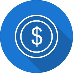 Dollars Ecommerce Line Circle Shadowed Icon