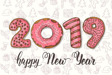 Happy New Year background. Hand drawn colorful glazed pink donuts-figures and doodle. 2019. Happy New Year and Merry Christmas.
