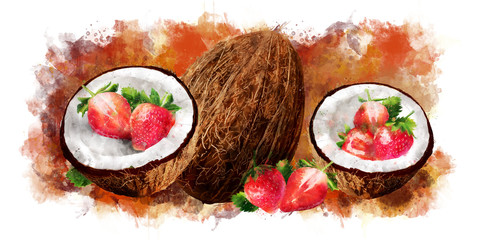 Watercolor coconut and strawberry on white background