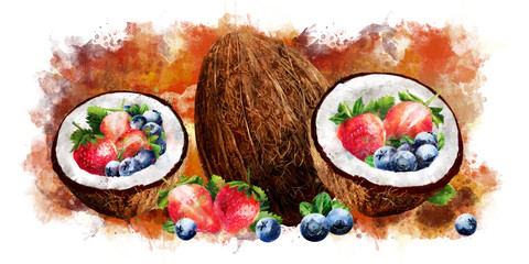 Watercolor coconut, blueberries and strawberry on white background