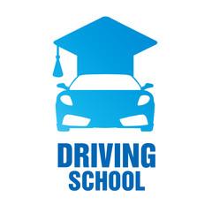 logo of driving school, car and mechanic