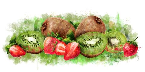 Strawberry and kiwi on white background. Watercolor illustration