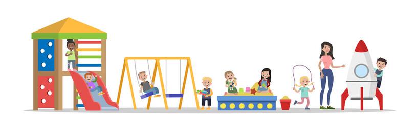 Happy children in the kindergarten playing outdoors